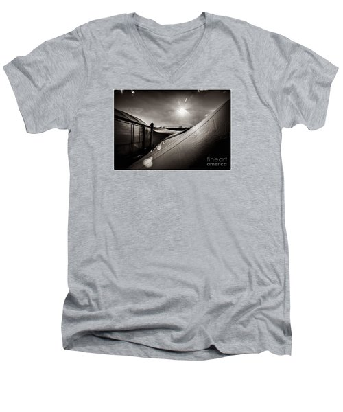 Men's V-Neck T-Shirt featuring the photograph Pop Brixton Has A New Roof by Lenny Carter