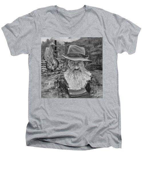 Popcorn Sutton - Black And White - Rocket Fuel Men's V-Neck T-Shirt