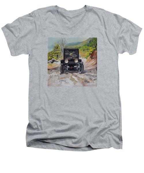 Popcorn Sutton - Looking For Likker Men's V-Neck T-Shirt by Jan Dappen