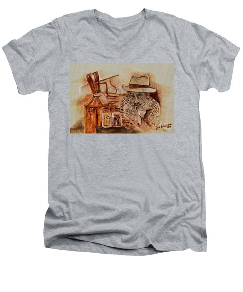 Popcorn Sutton - Waiting On Shine Men's V-Neck T-Shirt