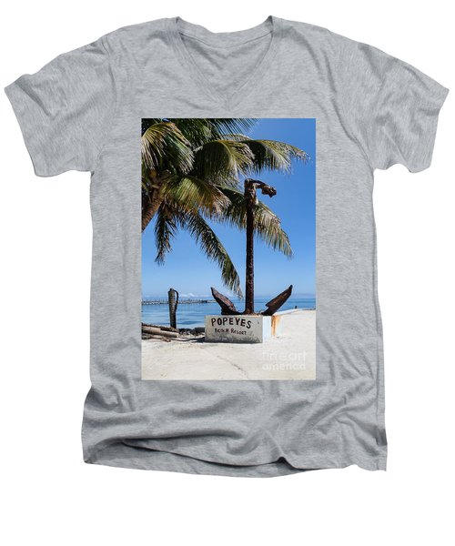 Men's V-Neck T-Shirt featuring the photograph Popeyes by Lawrence Burry