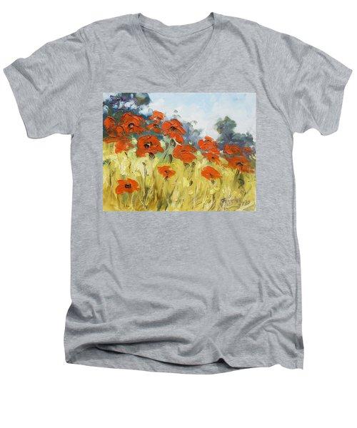 Poppies 3 Men's V-Neck T-Shirt by Irek Szelag