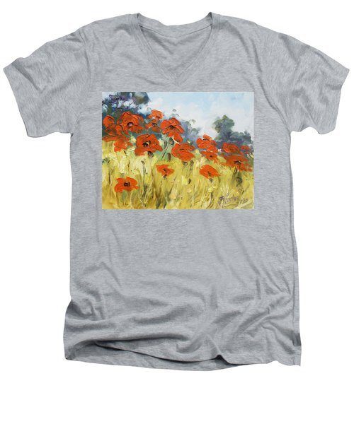 Poppies 3 Men's V-Neck T-Shirt