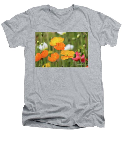 Men's V-Neck T-Shirt featuring the photograph  Poppies 1 by Werner Padarin