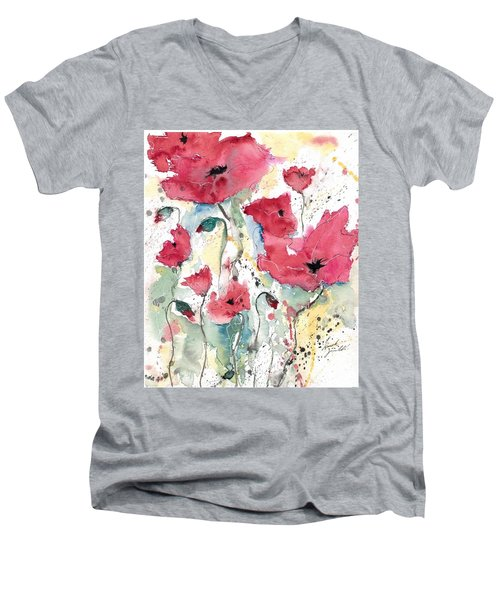 Men's V-Neck T-Shirt featuring the painting Poppies 10 by Ismeta Gruenwald