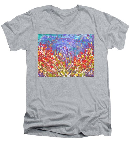 Poppies Abstract Meadow Painting Men's V-Neck T-Shirt