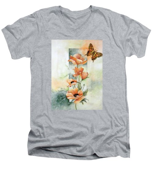 Poppies And Butterfly Men's V-Neck T-Shirt