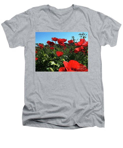 Poppies. Men's V-Neck T-Shirt