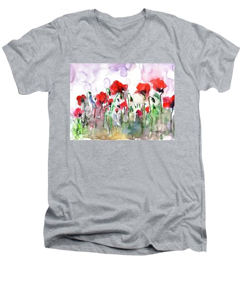 Men's V-Neck T-Shirt featuring the painting Poppies by Faruk Koksal