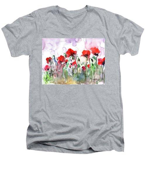 Poppies Men's V-Neck T-Shirt by Faruk Koksal