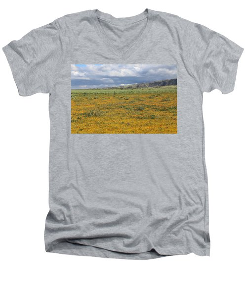 Poppies Field In Antelope Valley Men's V-Neck T-Shirt