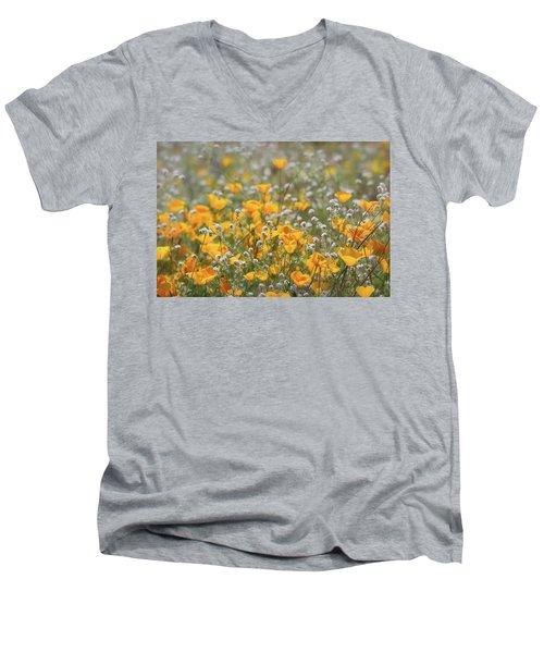 Men's V-Neck T-Shirt featuring the photograph Poppies Fields Forever  by Saija Lehtonen
