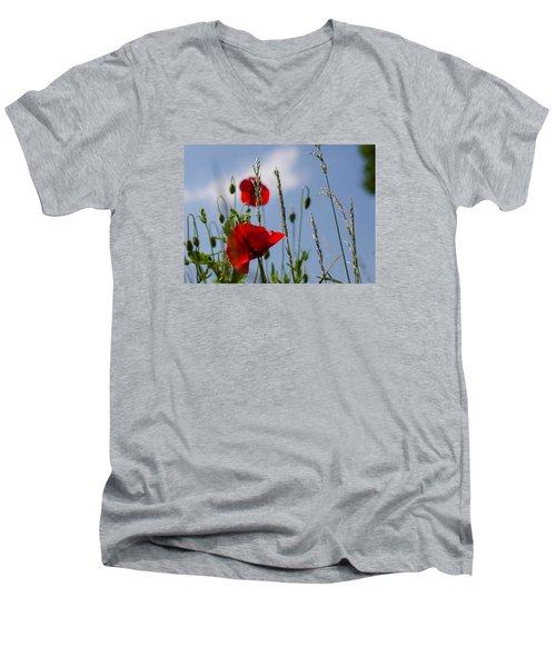 Poppies In The Skies Men's V-Neck T-Shirt by Rainer Kersten
