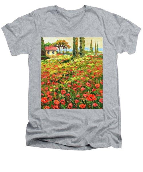 Poppies Near The Village Men's V-Neck T-Shirt by Dmitry Spiros