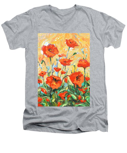 Poppies On A Yellow            Men's V-Neck T-Shirt by Dmitry Spiros
