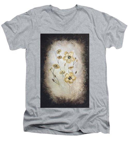 Poppies On Black Men's V-Neck T-Shirt