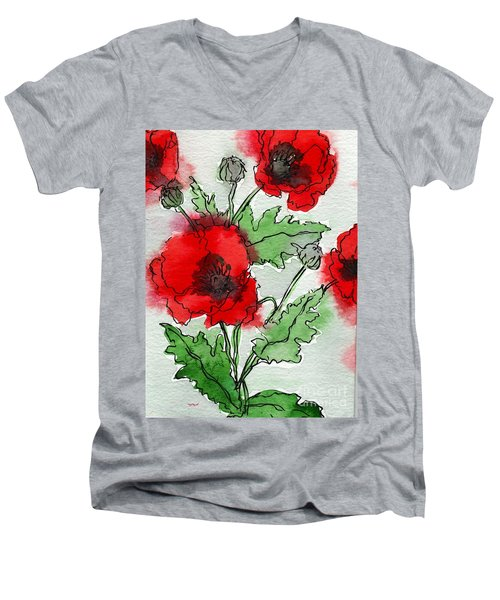 Watercolor Poppies Men's V-Neck T-Shirt