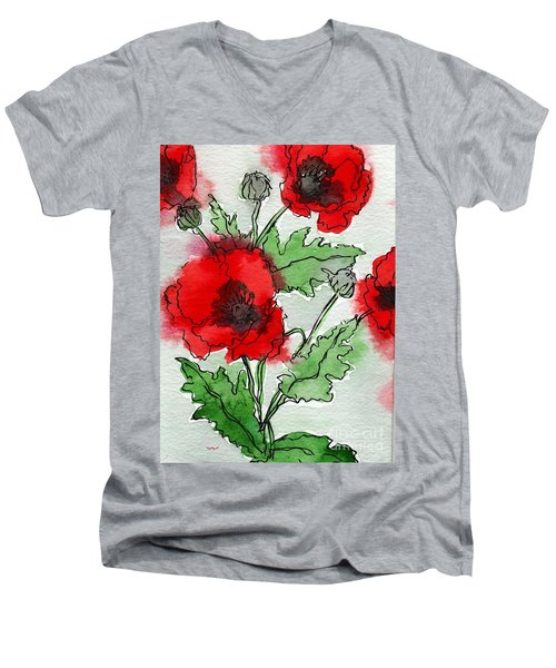 Poppies Popped Men's V-Neck T-Shirt