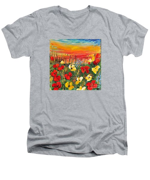 Men's V-Neck T-Shirt featuring the painting Poppies by Teresa Wegrzyn