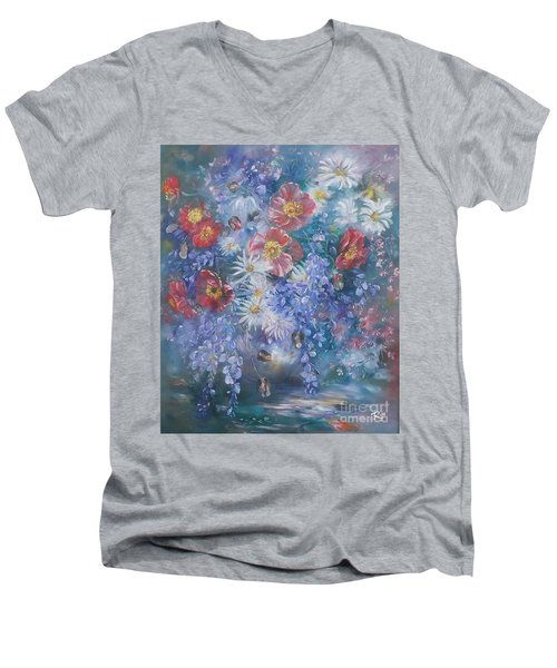 Poppies, Wisteria And Marguerites Men's V-Neck T-Shirt