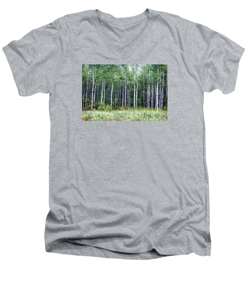 Men's V-Neck T-Shirt featuring the photograph Popple Trees by Susan Crossman Buscho
