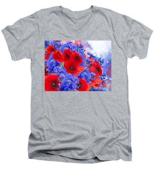 Poppy And Cornflower Flowers Men's V-Neck T-Shirt
