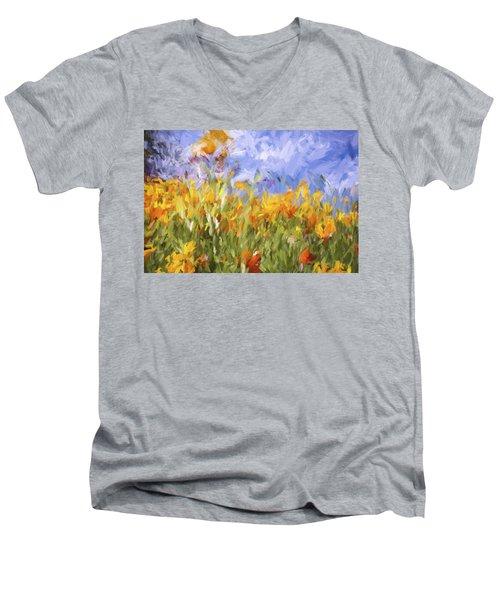 Poppy Field Men's V-Neck T-Shirt by Bonnie Bruno