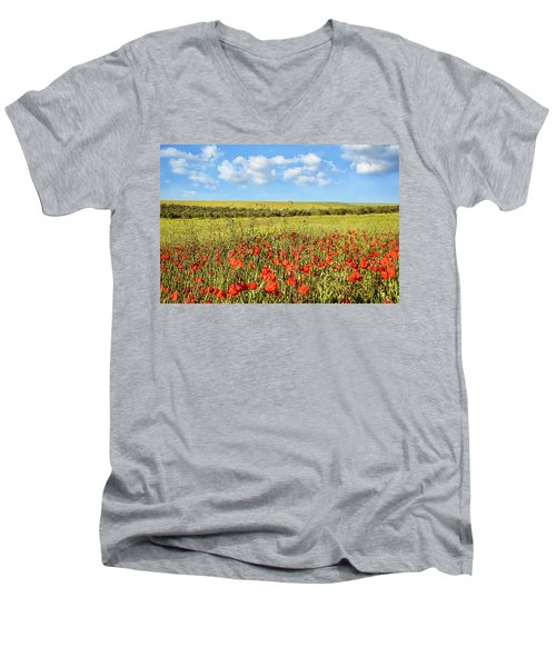 Men's V-Neck T-Shirt featuring the photograph Poppy Fields by Marion McCristall