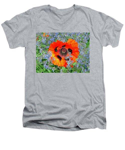 Poppy In Blue Men's V-Neck T-Shirt