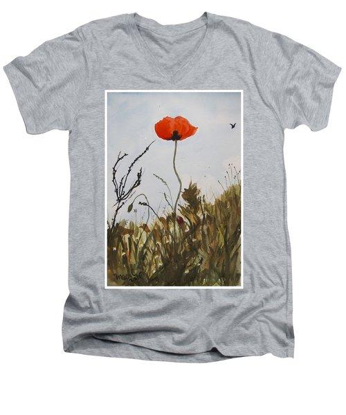 Poppy On The Field Men's V-Neck T-Shirt