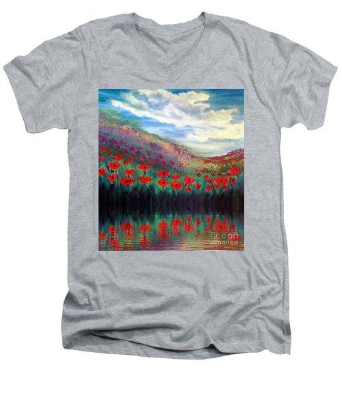 Poppy Wonderland Men's V-Neck T-Shirt by Holly Martinson