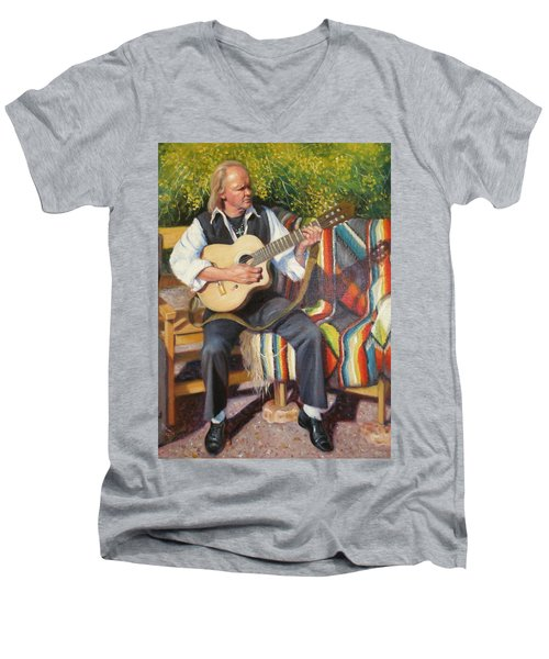 Men's V-Neck T-Shirt featuring the painting Por Tu Amor by Donelli  DiMaria