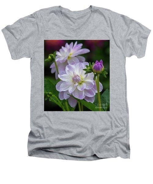 Porcelain Dahlia With Dewdrops Men's V-Neck T-Shirt