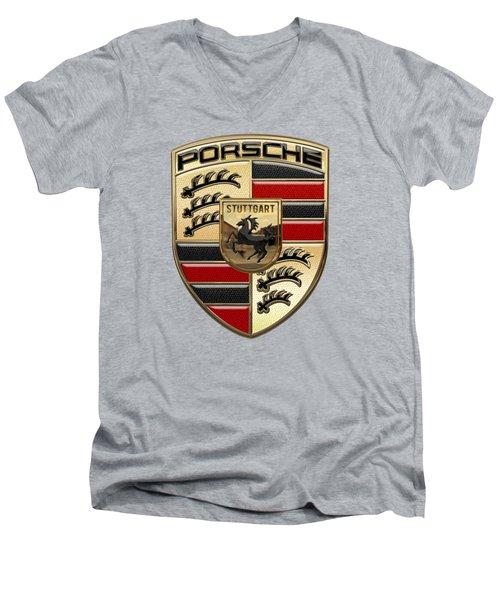 Porsche - 3d Badge On Yellow Men's V-Neck T-Shirt by Serge Averbukh
