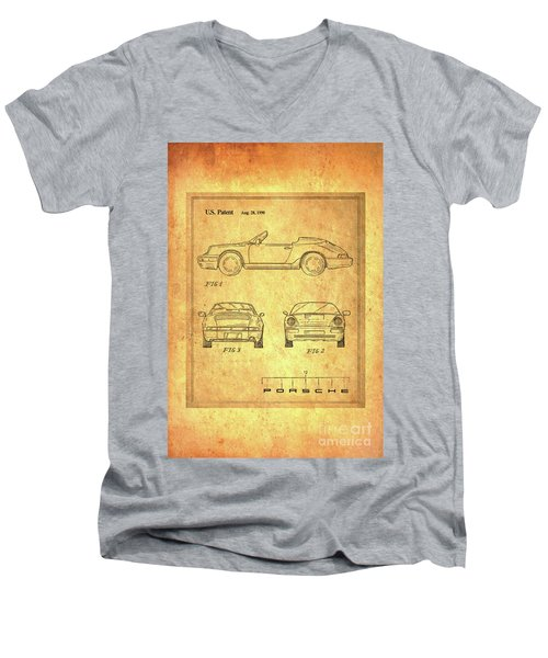 Porsche Blueprint Men's V-Neck T-Shirt by Steven Parker