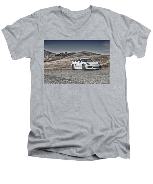 Porsche Cayman Gt4 In The Wild Men's V-Neck T-Shirt