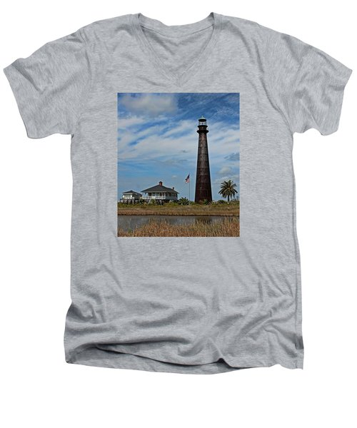 Port Bolivar Lighthouse Men's V-Neck T-Shirt
