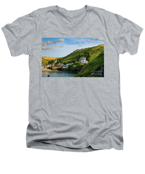 Men's V-Neck T-Shirt featuring the photograph Port Issac Hills by Brian Jannsen
