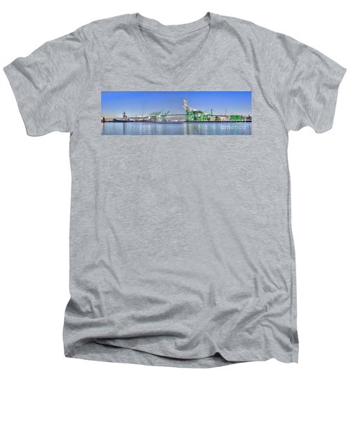 Port Of Los Angeles - Panoramic Men's V-Neck T-Shirt by Jim Carrell