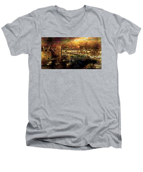 The Old Port Of Marseille Men's V-Neck T-Shirt