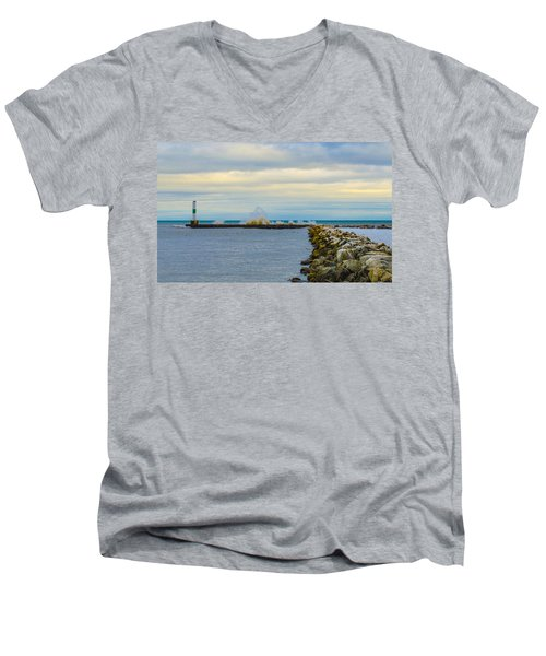 Port Washington Light 1 Men's V-Neck T-Shirt by Deborah Smolinske