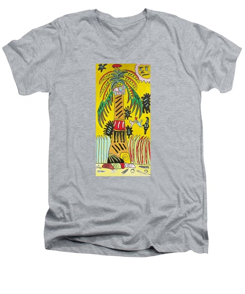 Men's V-Neck T-Shirt featuring the painting Portal To Adventure by Artists With Autism Inc