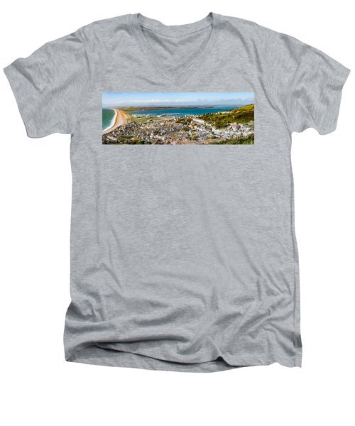 Portland And Chesil Beach Men's V-Neck T-Shirt