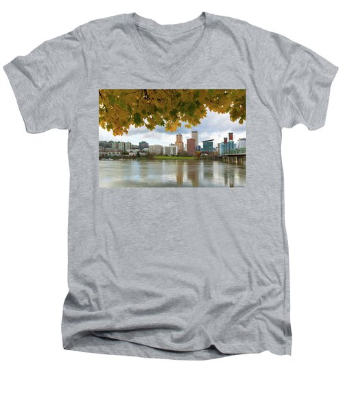 Portland City Skyline Under Fall Foliage Men's V-Neck T-Shirt
