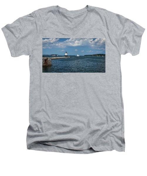 Portland Harbor, Maine Men's V-Neck T-Shirt