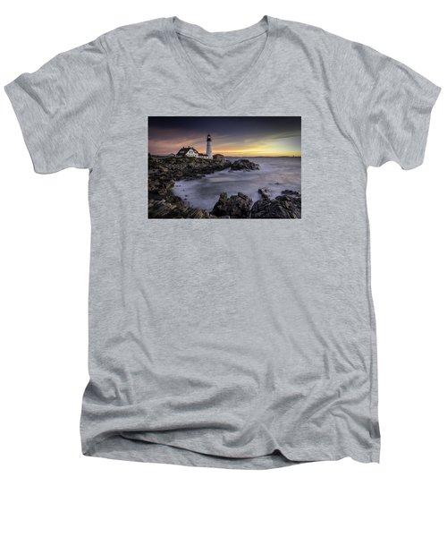 Portland Head Light Men's V-Neck T-Shirt by Fred LeBlanc