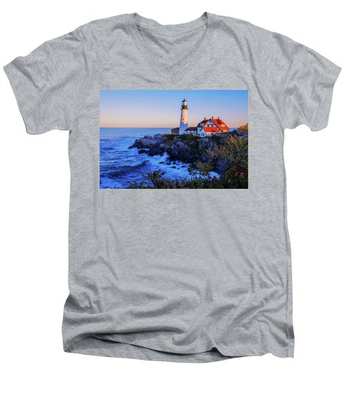 Portland Head Light II Men's V-Neck T-Shirt by Chad Dutson