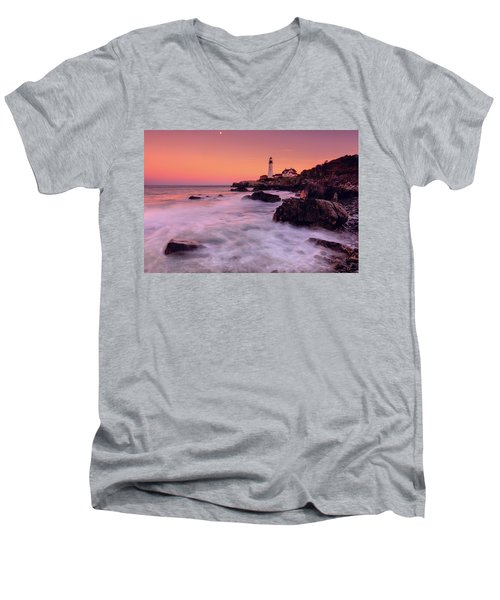 Men's V-Neck T-Shirt featuring the photograph Portland Head Light In Pink  by Emmanuel Panagiotakis
