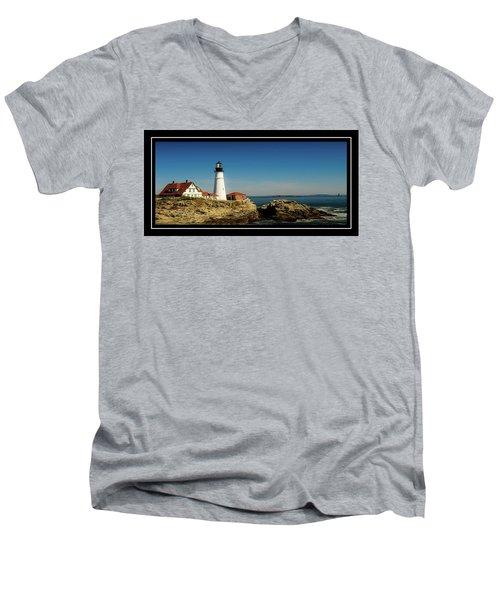 Portland Head Lighthouse 7 Men's V-Neck T-Shirt by Sherman Perry