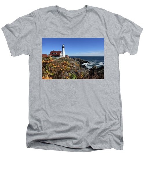 Portland Head Lighthouse In The Fall Men's V-Neck T-Shirt by Lou Ford
